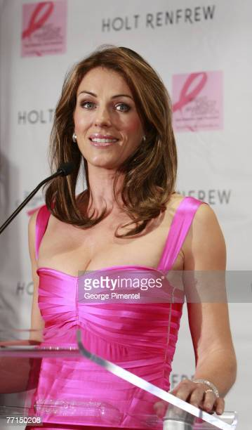Elizabeth Hurley visits Holt Renfrew Vancouver in support with Estee Lauder for the Breast Cancer Research Foundation on October 01 2007 in Vancouver...