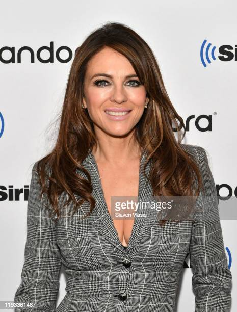 Elizabeth Hurley visits SiriusXM Studios on December 11, 2019 in New York City.