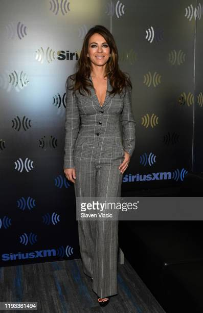 Elizabeth Hurley visits The Jenny McCarthy Show at SiriusXM Studios on December 11, 2019 in New York City.