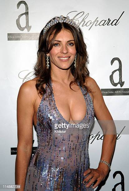 Elizabeth Hurley wearing Chopard during The 7th Annual White Tie and Tiara Ball to Benefit the Elton John Aids Foundation in Association with Chopard...