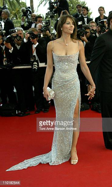 Elizabeth Hurley wearing jewelry by Chopard during 2003 Cannes Film Festival Closing Ceremony Arrivals at Palais des Festivals in Cannes France