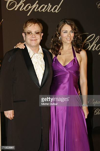Elizabeth Hurley with Elton John attend the Trophee Chopard ceremony which awards the best young actor and actress of the year at the Carlton Hotel...