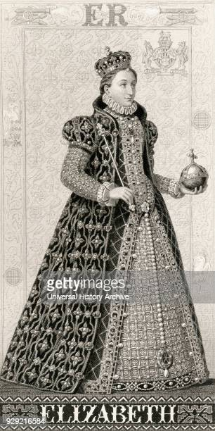 Elizabeth I 1533 to 1603 Queen regnant of England and Queen regnant of Ireland 1558 until her death From Illustrations of English and Scottish...