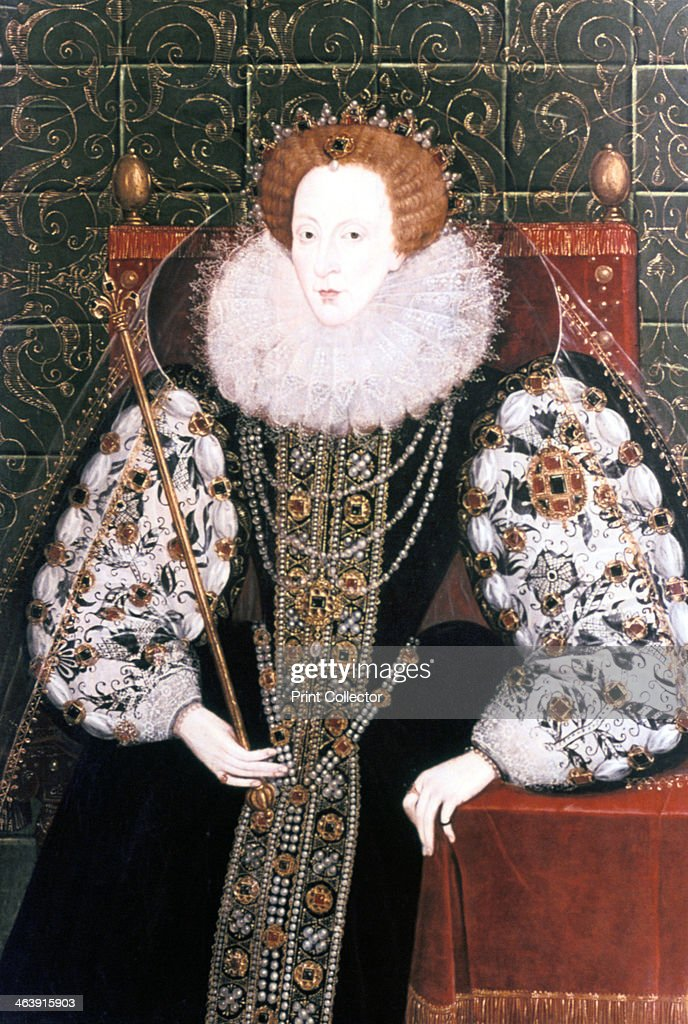 Elizabeth I, Queen of England and Ireland, 1558-1603. The last Tudor monarch, Elizabeth I (1533-1603) ruled from 1558 until 1603. She is depicted seated on the throne holding a sceptre. From the National Maritime Museum, Greenwich.