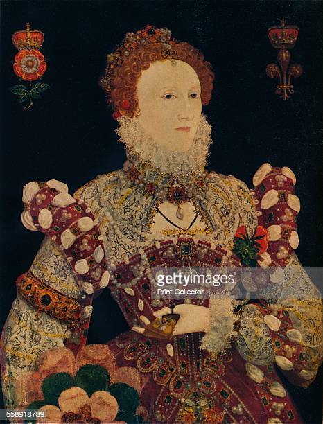 Elizabeth I Queen of England and Ireland c1574 The last Tudor monarch Elizabeth I ruled from 1558 until 1603 She is depicted seated on the throne...