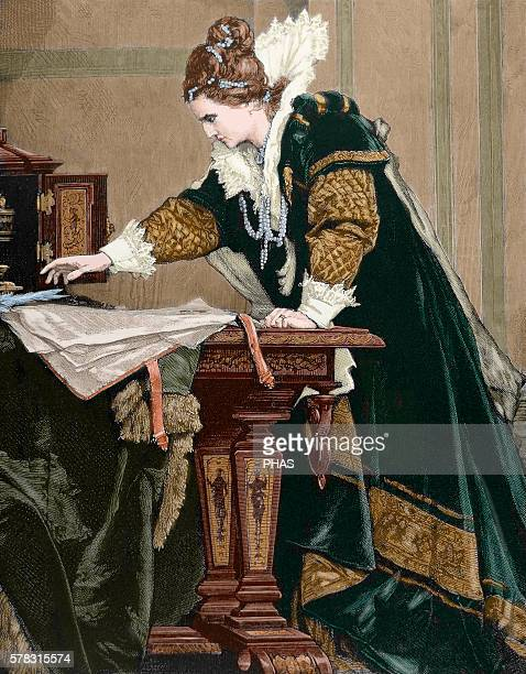 Elizabeth I Queen of England and Ireland decrees the death of Mary Stuart Queen of Scots Engraving by Thiele Colored