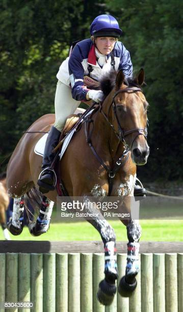Elizabeth Iorio friend of Princess Royal's son Peter Phillips on Wily Wizard competing in the Doubleprint British Horse Trials Championships at...