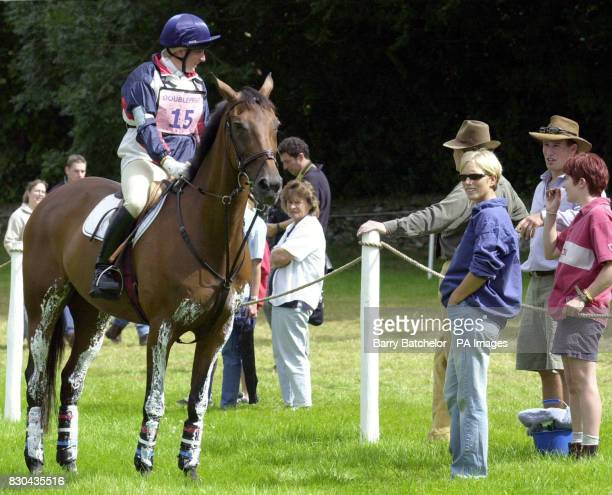 Elizabeth Iorio on Wily Wizard talks with friend Peter Phillips son of the Princess Royal and sister Zara before she starts the cross country course...