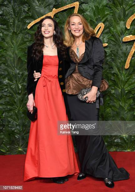 Elizabeth Jagger and Jerry Hall arrive at The Fashion Awards 2018 In Partnership With Swarovski at Royal Albert Hall on December 10 2018 in London...