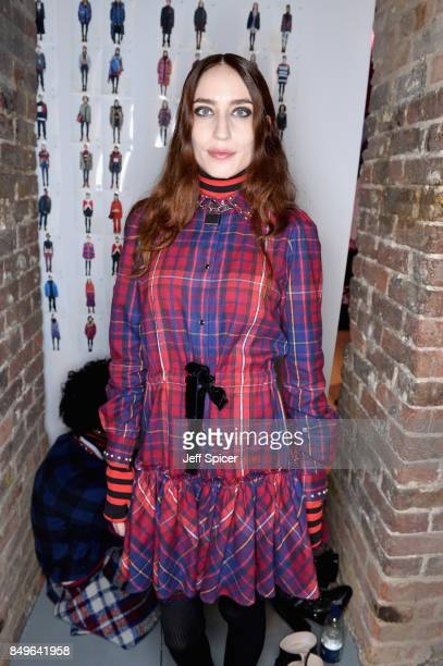 Elizabeth Jagger backstage ahead of the Tommy Hilfiger TOMMYNOW Fall 2017 Show during London Fashion Week September 2017 at the Roundhouse on...
