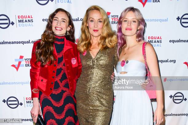Elizabeth Jagger, Jerry Hall and Georgia May Jagger attend the Equal Means Equal event at Paradise Club at the Times Square Edition on May 21, 2019...