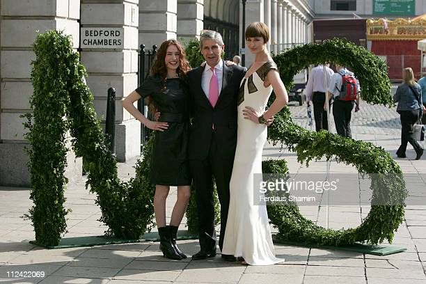 Elizabeth Jagger Stuart Rose and Erin O'Connor during Marks Spencer Autumn/Winter 2007 Collection Photocall at One Piazza in London Great Britain