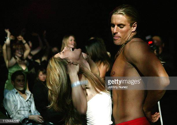 Elizabeth Jarosz and Chippendales Dancer during 'The Apprentice' Contestants Attend the Chippendales First Exclusive Performance at the Rio at Rio...