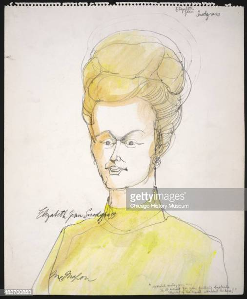Elizabeth Jean Snodgrass testifying for the defense in a courtroom illustration during the trial of the Chicago Eight Chicago Illinois late 1969 or...