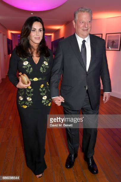 Elizabeth Keadle and Al Gore attend the Vanity Fair and Chopard Party celebrating the Cannes Film Festival at Hotel du CapEdenRoc on May 20 2017 in...