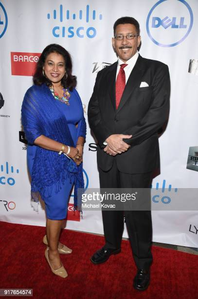 Elizabeth Koshy and INVAR cofounder Vincent Edwards attend the Advanced Imaging Society 2018 Lumiere Awards presented by Dell and Cisco at Steven J...
