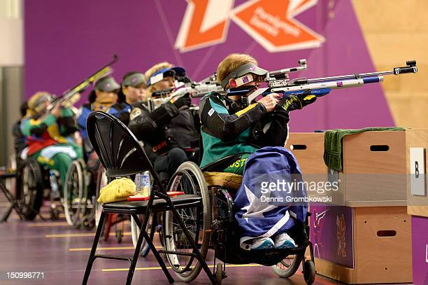 Elizabeth Kosmala of Australia competes in the Women's R210m Air Rifle Standing SH1 Finals on day 1 of the London 2012 Paralympic Games at The Royal...