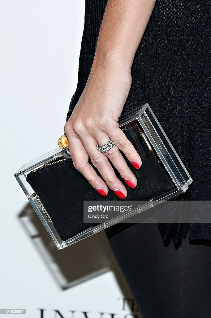 Elizabeth Kurpis (bag detail) attends 'The Invisible Woman' New York Premiere at Museum of Modern Art on December 9, 2013 in New York City.