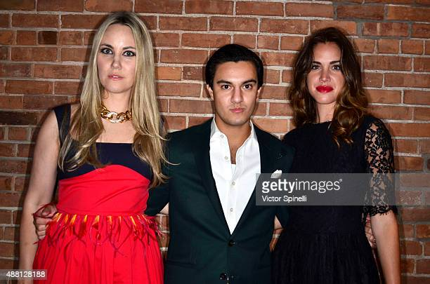 Elizabeth Kurpis Kevin Michael Barba and Julia Loomis attend Alvin Valley launch of OnApproval on September 12 2015 in New York City