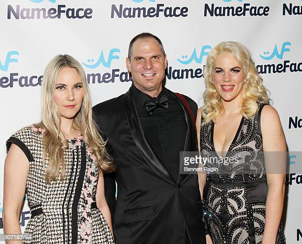 Elizabeth Kurpis photographer Steve Eichner and Daniela Kirsch attend the NameFacecom launch party at No 8 on January 27 2016 in New York City