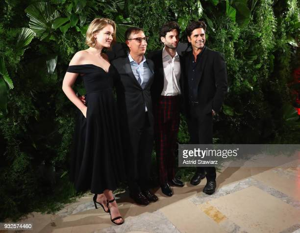 Elizabeth Lail Paul Buccieri Paul Badgley and John Stamos attend the 2018 AE Upfront on March 15 2018 in New York City