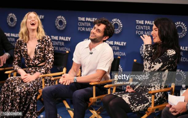 Elizabeth Lail Penn Badgley and Sera Gamble from YOU appear on stage at The Paley Center for Media's 2018 PaleyFest Fall TV Previews Lifetime at The...