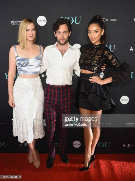 """Elizabeth Lail, Penn Badgley and Shay Mitchell attend the """"You"""" Series Premiere Celebration hosted by Lifetime on September 6, 2018 in New York City."""