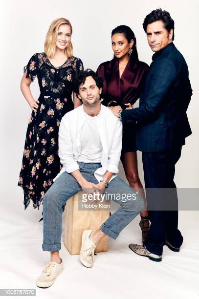 Elizabeth Lail Penn Badgley Shay Mitchell and John Stamos of Lifetime's 'You' pose for a portrait during the 2018 Summer Television Critics...