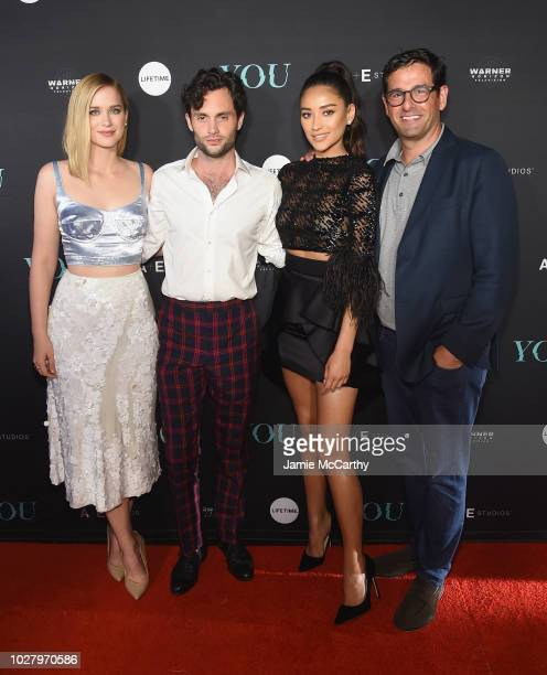 """Elizabeth Lail, Penn Badgley, Shay Mitchell and President of Programming A+E Networks Rob Sharenow attend the """"You"""" Series Premiere Celebration..."""