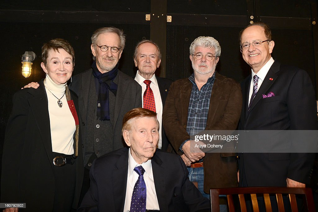 Elizabeth M. Daley, Steven Spielberg, Frank Price, George Lucas, C.L. Max Nikias and Sumner M. Redstone attend the dedication of the Sumner M. Redstone Production Building at USC on February 5, 2013 in Los Angeles, California.
