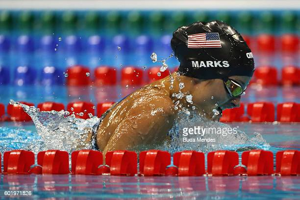 Elizabeth Marks of the United States competes in the Women's 100m Breaststroke SB7 Final on day 3 of the Rio 2016 Paralympic Games at the Olympic...