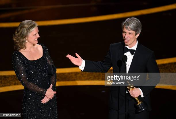 Elizabeth Martin and Marshall Curry accept the Short Film Live Action award for 'The Neighbors' Window' onstage during the 92nd Annual Academy Awards...
