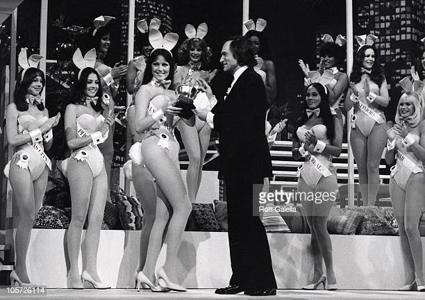 Elizabeth Martin Hugh Hefner and Playboy Bunnies during Playmate of the Year Awards at Aquarious Theater in Hollywood California United States