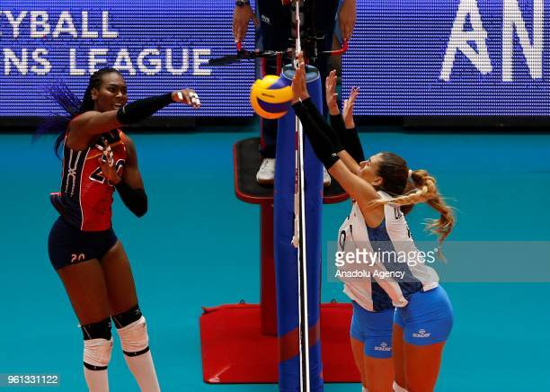 Elizabeth Martinez of Dominican Republic in action against Julieta Lazcano of Argentina during the FIVB Volleyball Nations League match between...