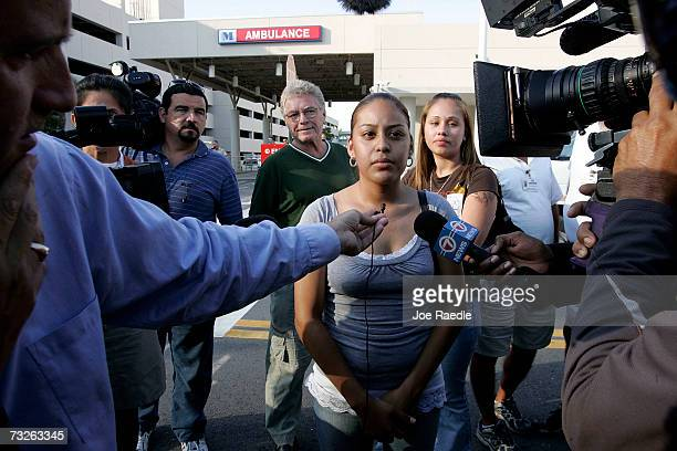 Elizabeth Martinez who said she saw Anna Nicole Smith taken into the hospital talks to the media in front of the Hollywood Memorial Regional Hospital...
