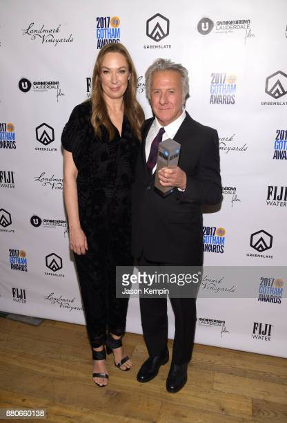 Elizabeth Marvel and Dustin Hoffman attend the GreenSlate Greenroom at The 2017 Gotham Awards at Cipriani Wall Street on November 27 2017 in New York...