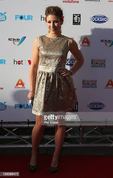 Elizabeth Marvelly arrives for the 2012 Vodafone New Zealand Music Awards at Vector Arena on November 1 2012 in Auckland New Zealand