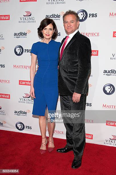 Elizabeth McGovern and Hugh Bonneville attend the 'Downton Abbey' series season six premiere at the Millenium Hotel on December 7 2015 in New York...
