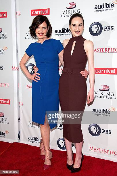 "Elizabeth McGovern and Michelle Dockery attend the ""Downton Abbey"" series season six premiere at the Millenium Hotel on December 7, 2015 in New York..."