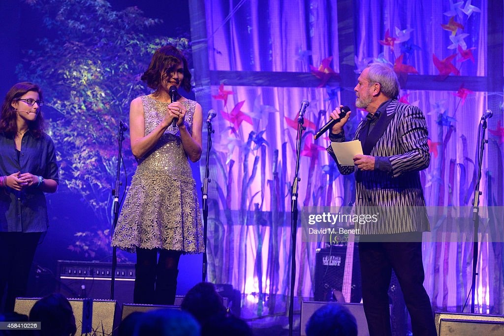 Elizabeth McGovern and Terry Gilliam on stage during the second annual SeriousFun Network Gala at at The Roundhouse on November 4, 2014 in London, England.