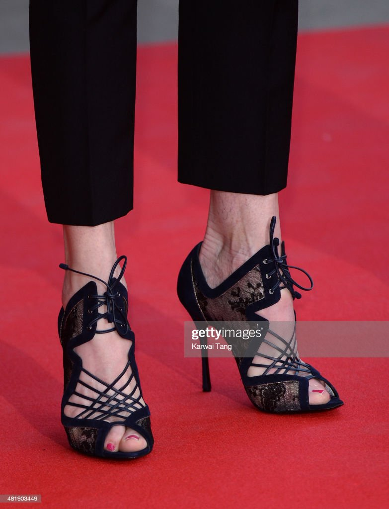 Elizabeth McGovern (Shoe detail) attends the preview of The Glamour of Italian Fashion exhibition at the Victoria & Albert Museum on April 1, 2014 in London, England.
