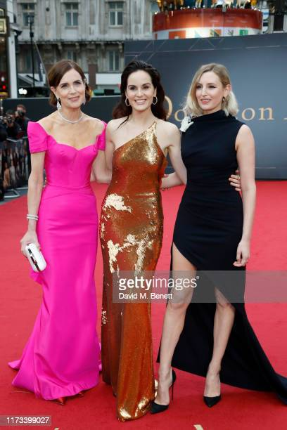 "Elizabeth McGovern, Michelle Dockery and Laura Carmichael attend the World Premiere of ""Downton Abbey"" at Cineworld Leicester Square on September 09,..."