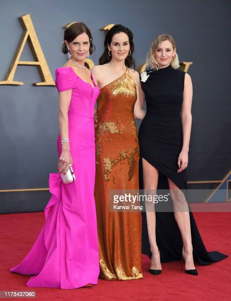 "Elizabeth McGovern, Michelle Dockery and Laura Carmichael attend the ""Downton Abbey"" World Premiere at Cineworld Leicester Square on September 09,..."