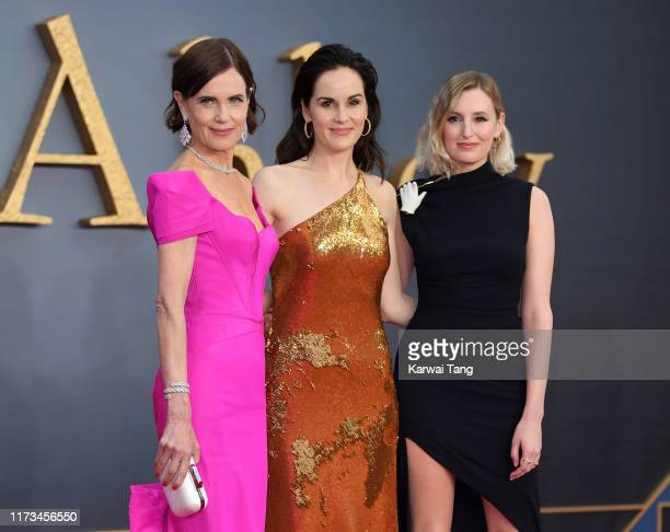 """Elizabeth McGovern, Michelle Dockery and Laura Carmichael attend the """"Downton Abbey"""" World Premiere at Cineworld Leicester Square on September 09,..."""