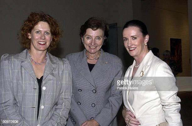 Elizabeth McGregor Kathryn Greiner and Anne Keating at the Ned Kelly Framed Exhibition organised by the National Trust and Arts for Heritage...