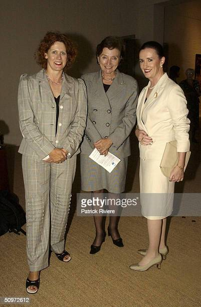 Elizabeth McGregor Kathryn Greiner Anne Keating at the Ned Kelly Framed Exhibition organised by the National Trust and Arts for Heritage Committee at...