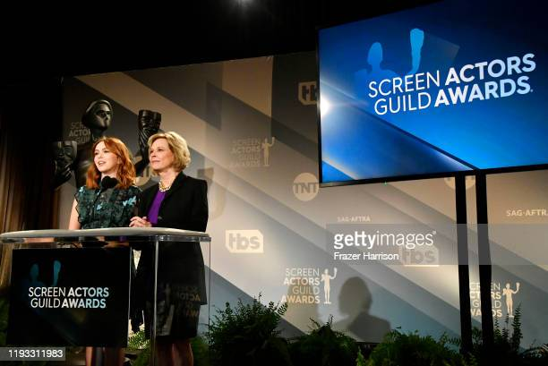 Elizabeth McLaughlin and JoBeth Williams speak at the 26th Annual Screen Actors Guild Awards Nominations Announcement at Pacific Design Center on...