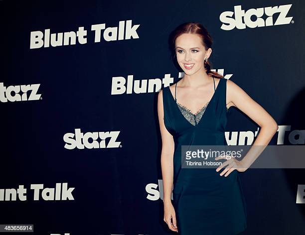 Elizabeth McLaughlin attends the premiere of STARZ 'Blunt Talk' at DGA Theater on August 10 2015 in Los Angeles California