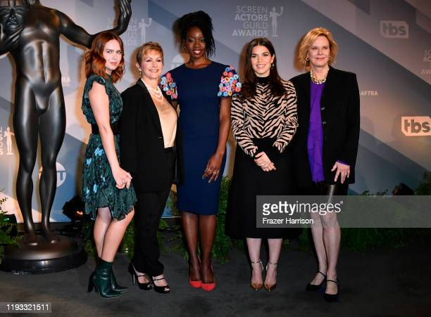 Elizabeth McLaughlin President of SAGAFTRA Gabrielle Carteris Danai Gurira America Ferrera and JoBeth Williams attend the 26th Annual Screen Actors...