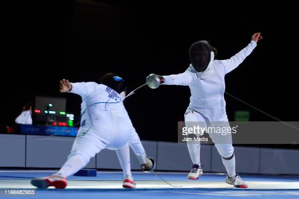 Elizabeth Medina and Liliana Tejeda of Mexico compete in Fencing Women's Épée Individual Table of 16 on Day 12 of Lima 2019 Pan American Games at...